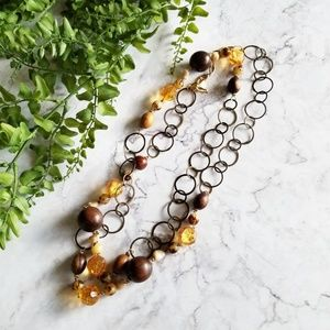 Yochi NY | Amber Beaded Statement Wrap Necklace